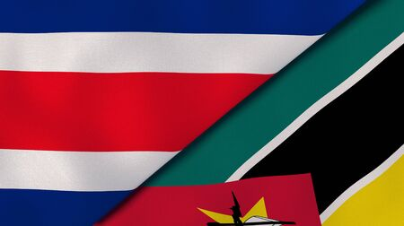 Two states flags of Costa Rica and Mozambique. High quality business background. 3d illustration