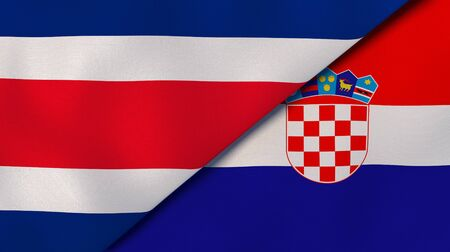 Two states flags of Costa Rica and Croatia. High quality business background. 3d illustration Stock Photo