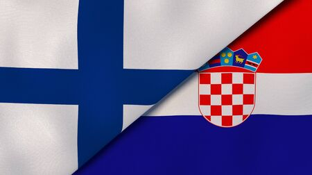 Two states flags of Finland and Croatia. High quality business background. 3d illustration Stock Photo