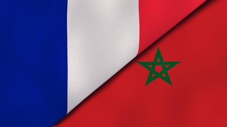 Two states flags of France and Morocco. High quality business background. 3d illustration Stock Photo