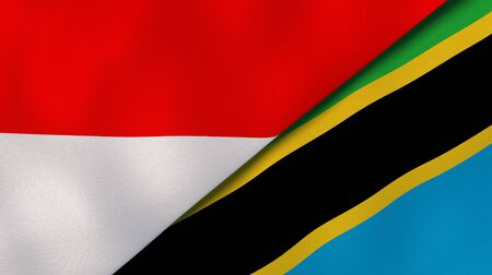 Two states flags of Indonesia and Tanzania. High quality business background. 3d illustration