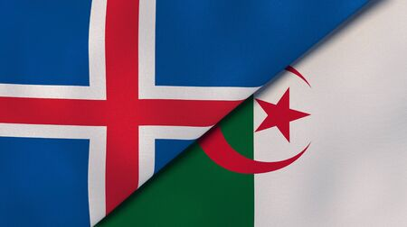 Two states flags of Iceland and Algeria. High quality business background. 3d illustration