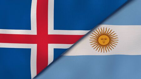 Two states flags of Iceland and Argentina. High quality business background. 3d illustration Banco de Imagens