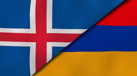 Two states flags of Iceland and Armenia. High quality business background. 3d illustration Banco de Imagens