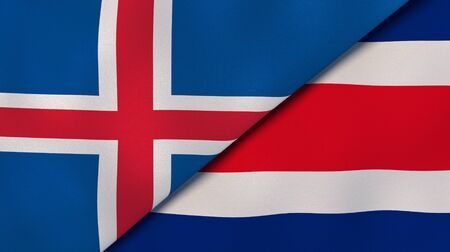 Two states flags of Iceland and Costa Rica. High quality business background. 3d illustration