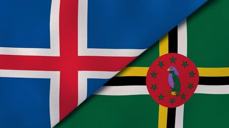 Two states flags of Iceland and Dominica. High quality business background. 3d illustration