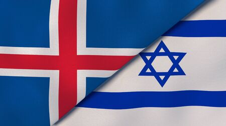 Two states flags of Iceland and Israel. High quality business background. 3d illustration Banco de Imagens