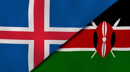 Two states flags of Iceland and Kenya. High quality business background. 3d illustration
