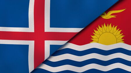 Two states flags of Iceland and Kiribati. High quality business background. 3d illustration