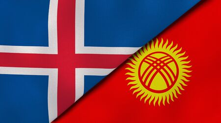 Two states flags of Iceland and Kyrgyzstan. High quality business background. 3d illustration Banco de Imagens