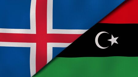 Two states flags of Iceland and Libya. High quality business background. 3d illustration