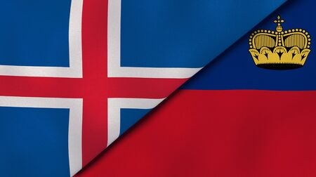 Two states flags of Iceland and Liechtenstein. High quality business background. 3d illustration Banco de Imagens