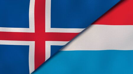 Two states flags of Iceland and Luxembourg. High quality business background. 3d illustration