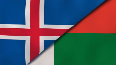 Two states flags of Iceland and Madagascar. High quality business background. 3d illustration