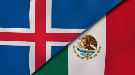 Two states flags of Iceland and Mexico. High quality business background. 3d illustration