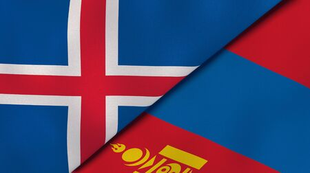 Two states flags of Iceland and Mongolia. High quality business background. 3d illustration