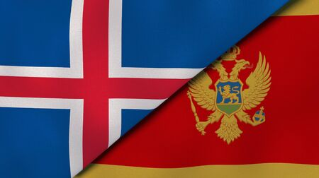Two states flags of Iceland and Montenegro. High quality business background. 3d illustration