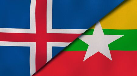 Two states flags of Iceland and Myanmar. High quality business background. 3d illustration Banco de Imagens