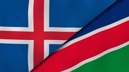 Two states flags of Iceland and Namibia. High quality business background. 3d illustration Banco de Imagens