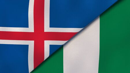 Two states flags of Iceland and Nigeria. High quality business background. 3d illustration
