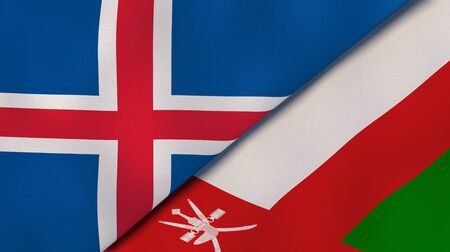 Two states flags of Iceland and Oman. High quality business background. 3d illustration