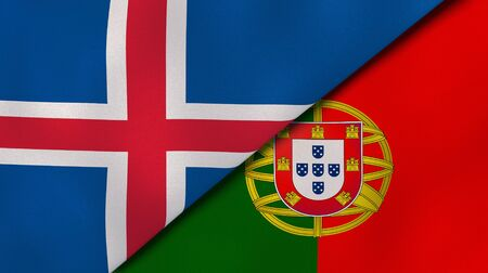 Two states flags of Iceland and Portugal. High quality business background. 3d illustration Banco de Imagens