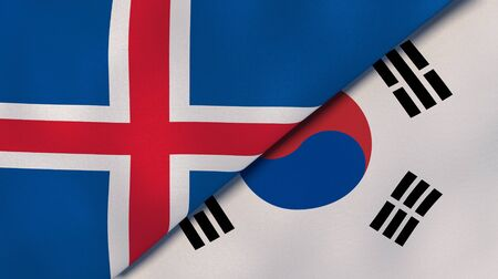 Two states flags of Iceland and South Korea. High quality business background. 3d illustration