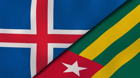 Two states flags of Iceland and Togo. High quality business background. 3d illustration Banco de Imagens