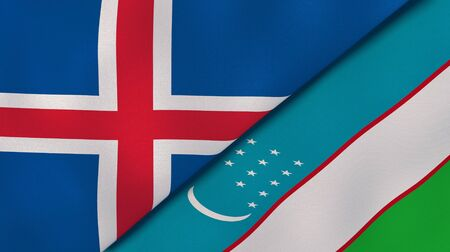 Two states flags of Iceland and Uzbekistan. High quality business background. 3d illustration