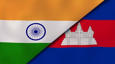 Two states flags of India and Cambodia . High quality business background. 3d illustration