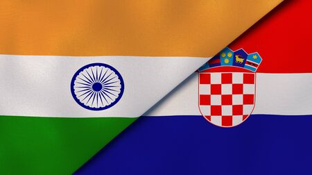 Two states flags of India and Croatia. High quality business background. 3d illustration