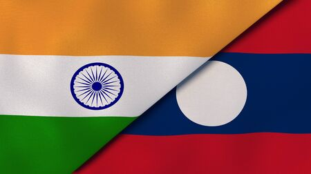 Two states flags of India and Laos. High quality business background. 3d illustration