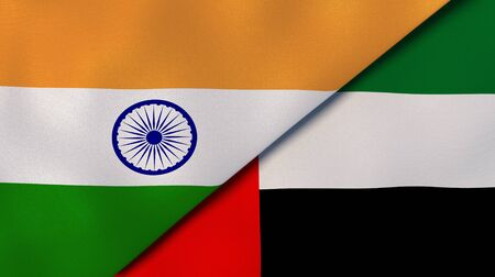 Two states flags of India and United Arab Emirates. High quality business background. 3d illustration Stock Photo