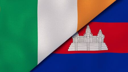 Two states flags of Ireland and Cambodia . High quality business background. 3d illustration