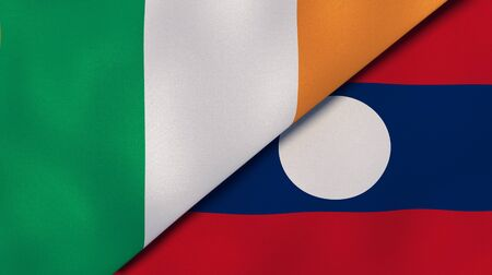 Two states flags of Ireland and Laos. High quality business background. 3d illustration 写真素材