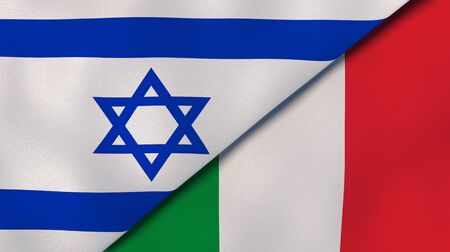 Two states flags of Israel and Italy. High quality business background. 3d illustration