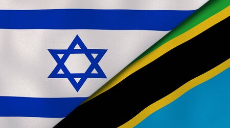 Two states flags of Israel and Tanzania. High quality business background. 3d illustration Stock fotó