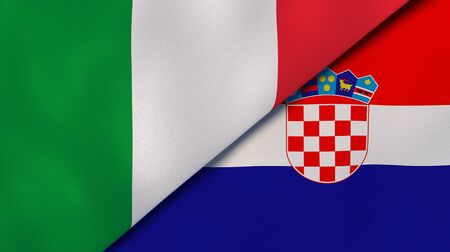 Two states flags of Italy and Croatia. High quality business background. 3d illustration