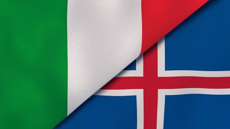 Two states flags of Italy and Iceland. High quality business background. 3d illustration