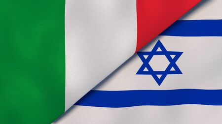Two states flags of Italy and Israel. High quality business background. 3d illustration