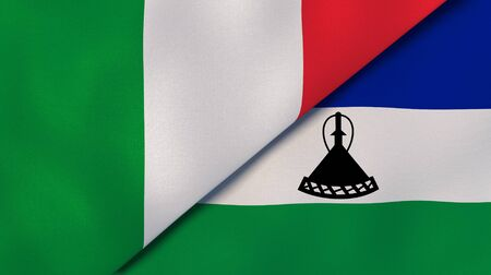 Two states flags of Italy and Lesotho. High quality business background. 3d illustration Stock fotó
