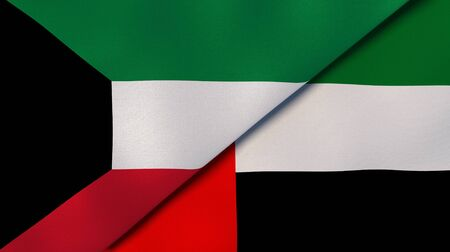 Two states flags of Kuwait and United Arab Emirates. High quality business background. 3d illustration