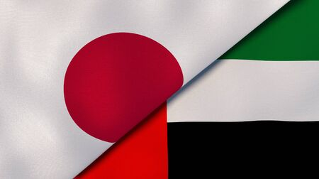 Two states flags of Japan and United Arab Emirates. High quality business background. 3d illustration