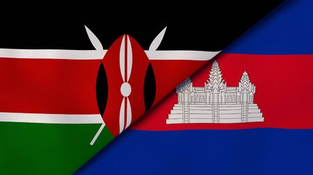 Two states flags of Kenya and Cambodia . High quality business background. 3d illustration