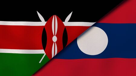 Two states flags of Kenya and Laos. High quality business background. 3d illustration