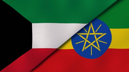 Two states flags of Kuwait and Ethiopia. High quality business background. 3d illustration Banque d'images