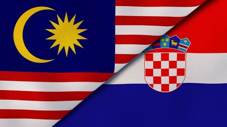 Two states flags of Malaysia and Croatia. High quality business background. 3d illustration