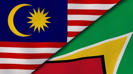 Two states flags of Malaysia and Guyana. High quality business background. 3d illustration Stock fotó