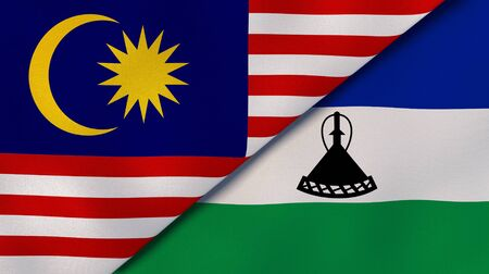 Two states flags of Malaysia and Lesotho. High quality business background. 3d illustration Stock fotó