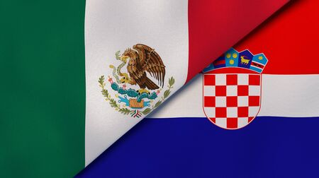 Two states flags of Mexico and Croatia. High quality business background. 3d illustration